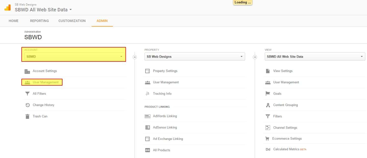 Google Analytics select account