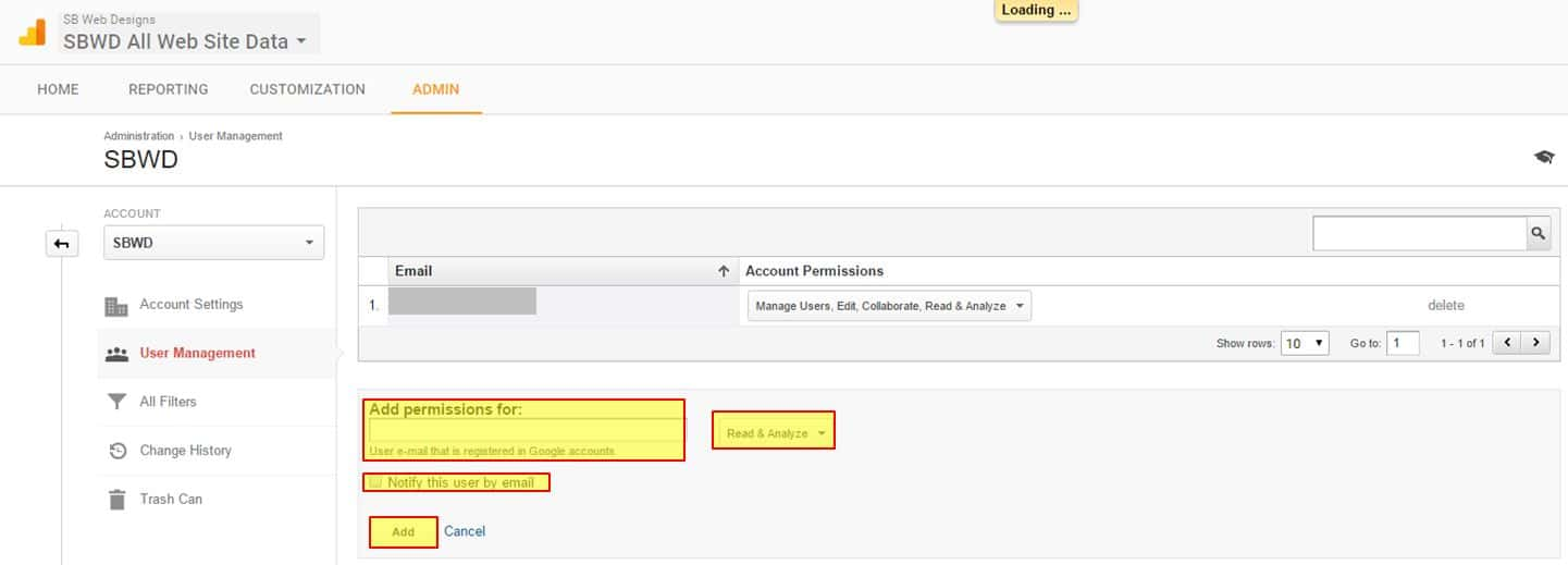 Google Analytics add permissions for
