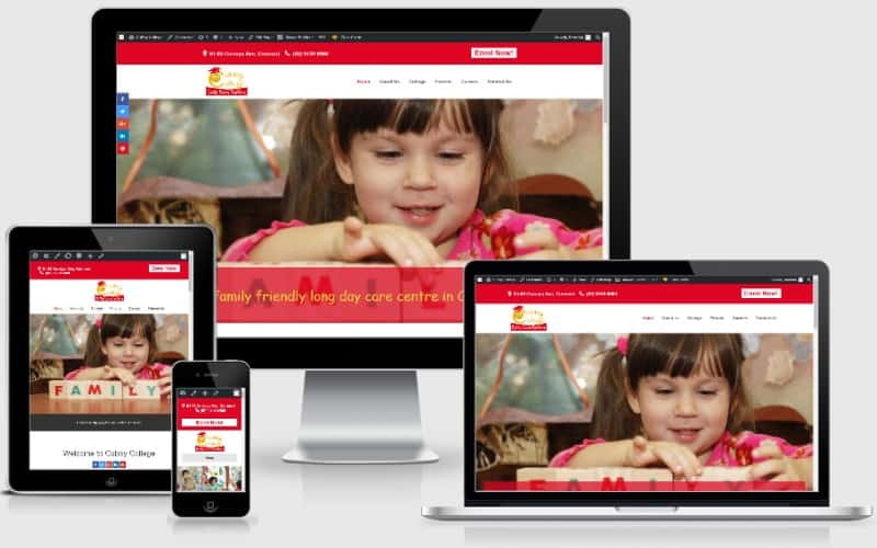 Cubby College Child Care Website in Concord